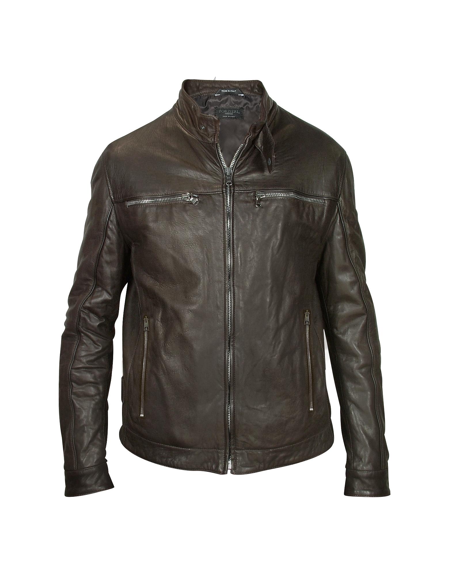 Forzieri Темно-коричневая Мужская Кожаная Куртка в Мото Стиле