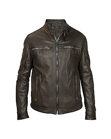 Men's Dark Brown Leather Motorcycle Jacket - Forzieri