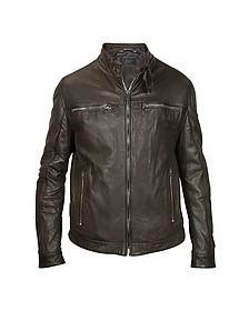 Темно-коричневая Мужская Кожаная Куртка в Мото Стиле - Forzieri