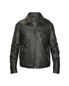 Men's Black Leather Zip Jacket - Forzieri