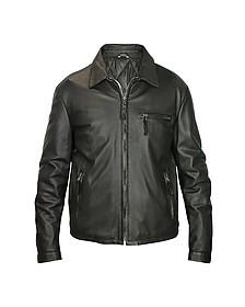 Черная Мужская Кожаная Куртка на Молнии - Forzieri