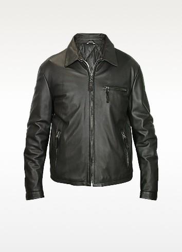 Men's Black Leather Zip Jacket - Forzieri
