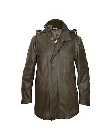 Forzieri Manteau en cuir marron foncé à capuche amovible
