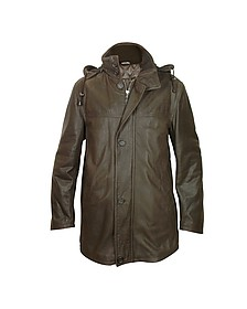 Detachable Hood Dark Brown Leather Car Coat - Forzieri