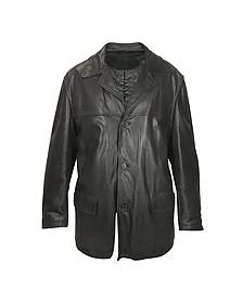 Черная Мужская Кожаная Куртка - Forzieri