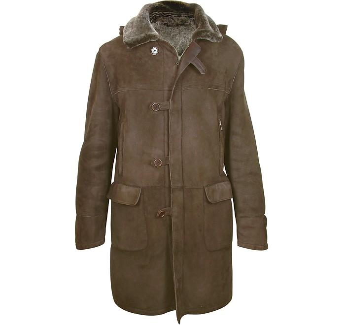 Detachable Hood Men's Dark Brown Shearling Coat - Forzieri