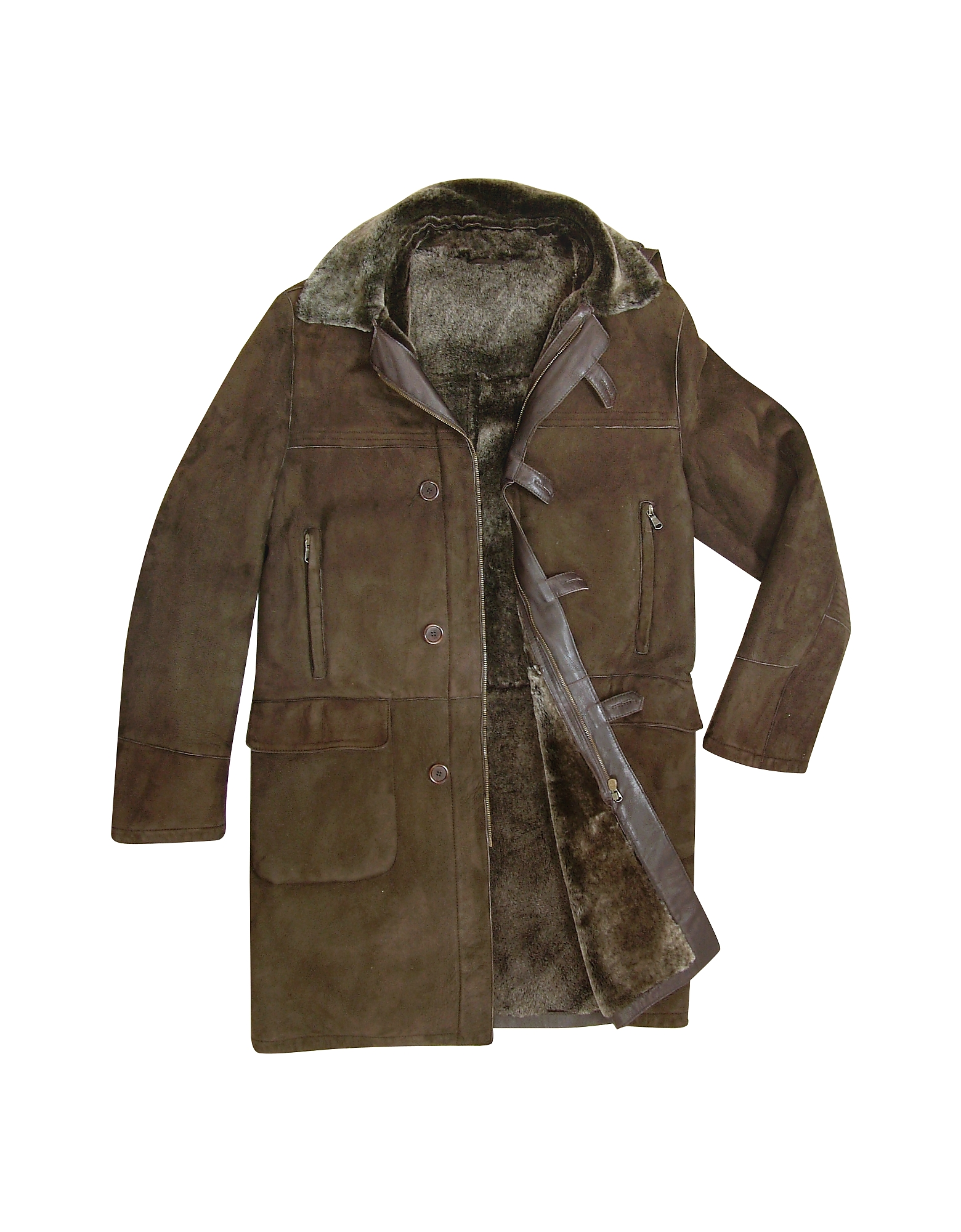 Detachable Hood Men's Dark Brown Shearling Coat от Forzieri.com INT