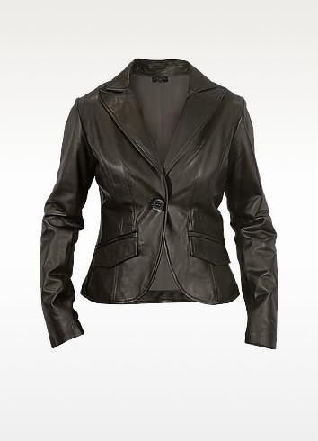 Women's Black Perforated Trim Leather Blazer  - Forzieri