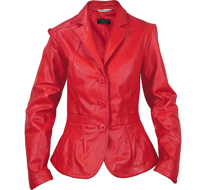 Women's Red Fitted Leather Jacket - Forzieri