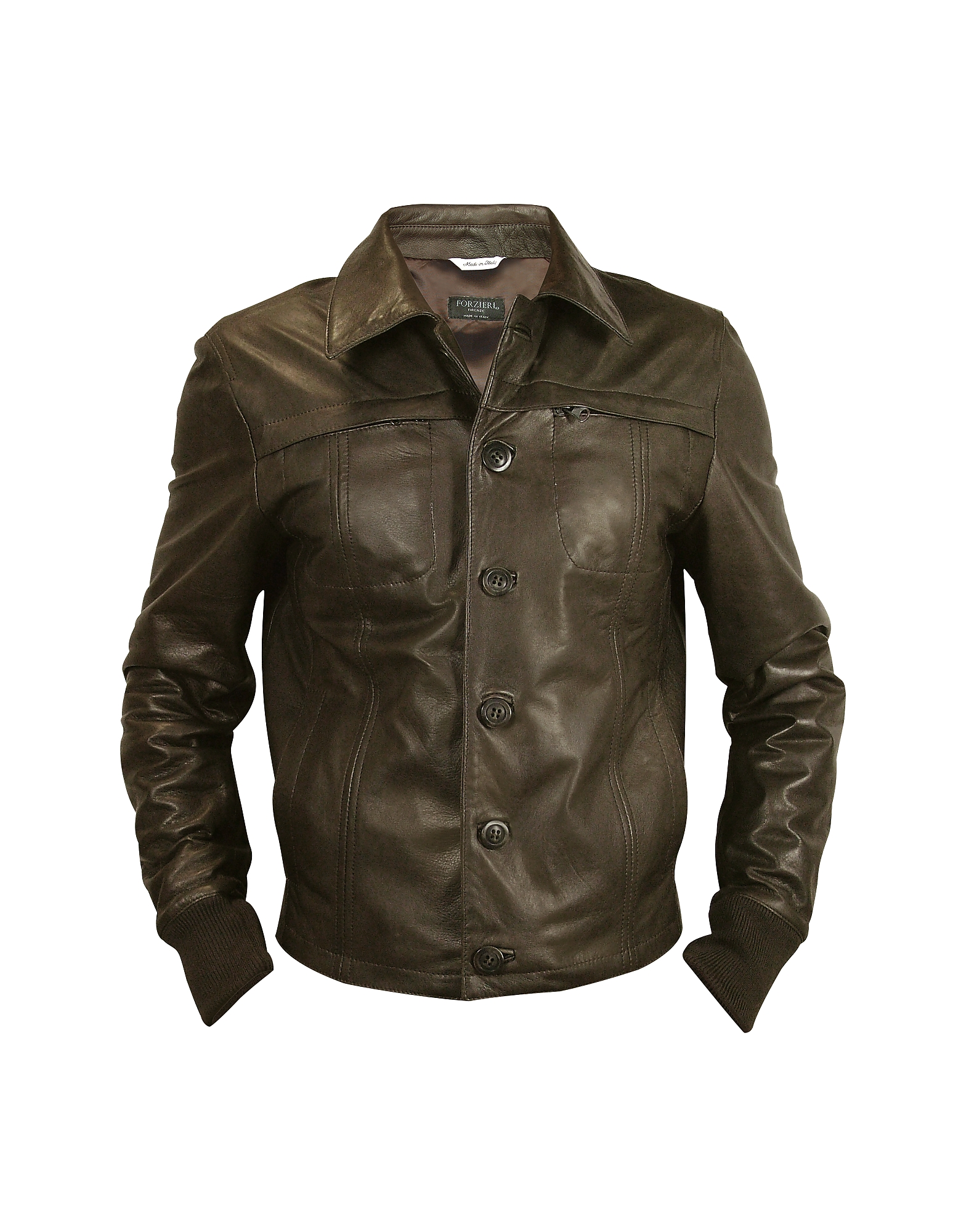 Forzieri Темно-коричневая Мужская Кожаная Куртка
