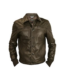 Men's Dark Brown Leather Jacket - Forzieri