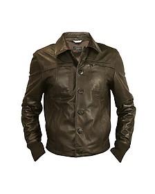 Темно-коричневая Мужская Кожаная Куртка - Forzieri