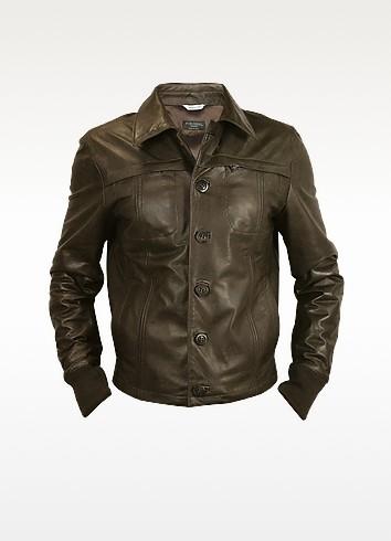 Men's Dark Brown Leather Jacket - Forzieri