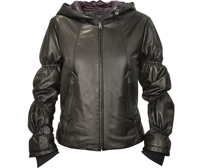 Women's Black Leather Ruffled Sleeve Jacket w/Hood - Forzieri