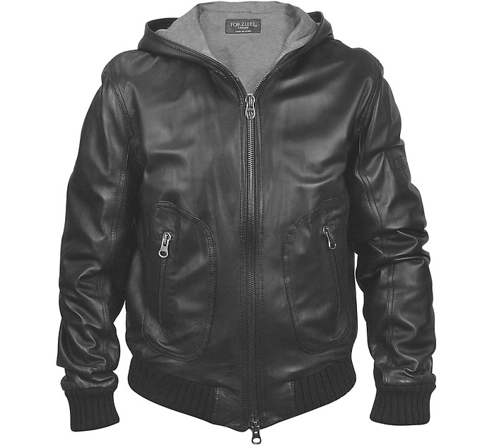 Men's Black Leather Hooded Jacket - Forzieri