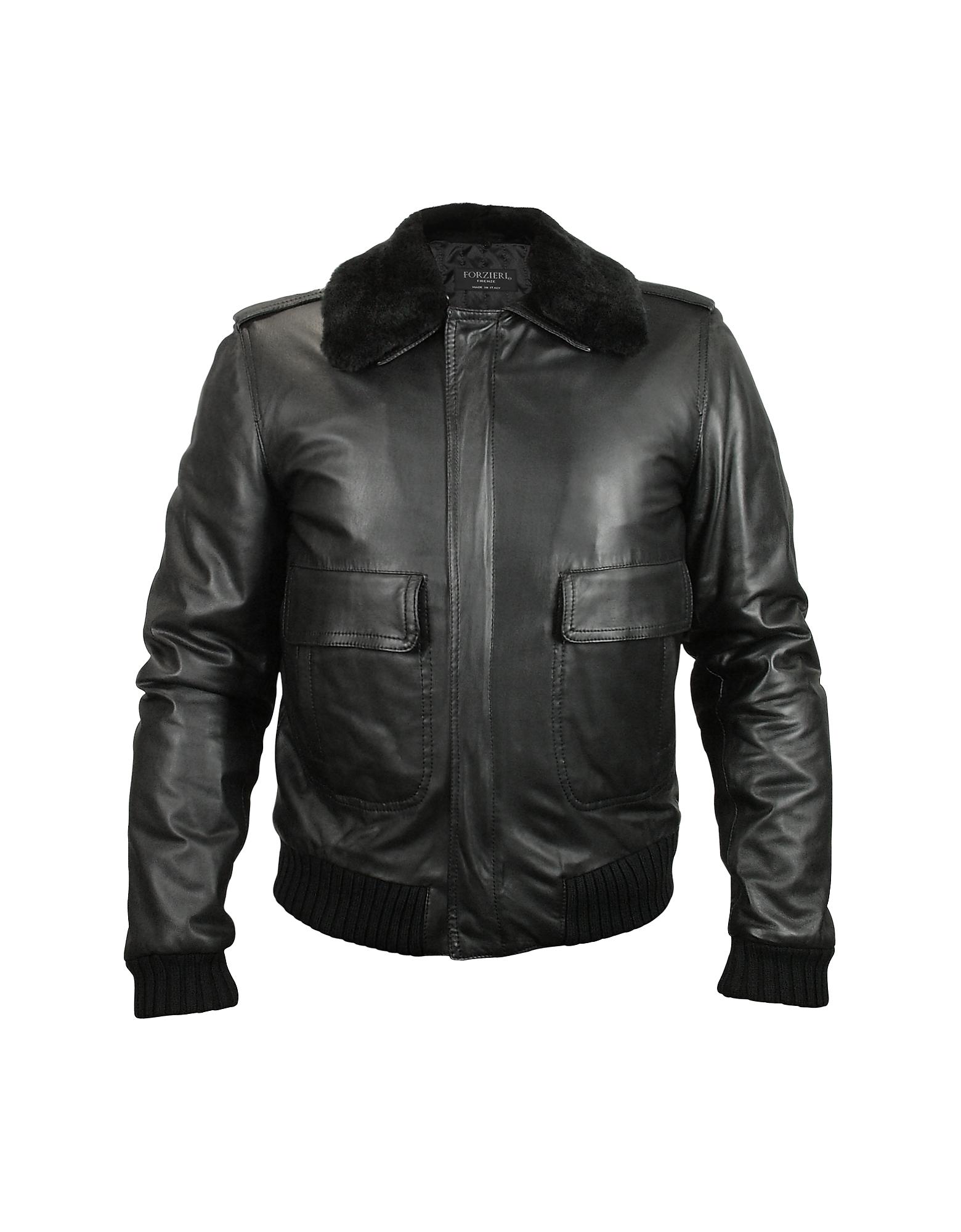 Мужская Черная Кожаная Куртка со Съемным Воротником из Овчины