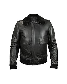 Men's Black Leather Jacket w/Detachable Shearling Collar - Forzieri