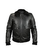 Lux-ID 208519 Men's Black Leather Jacket w/Detachable Shearling Collar