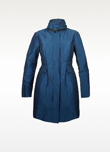 Blue Metallic Wind Coat - Forzieri