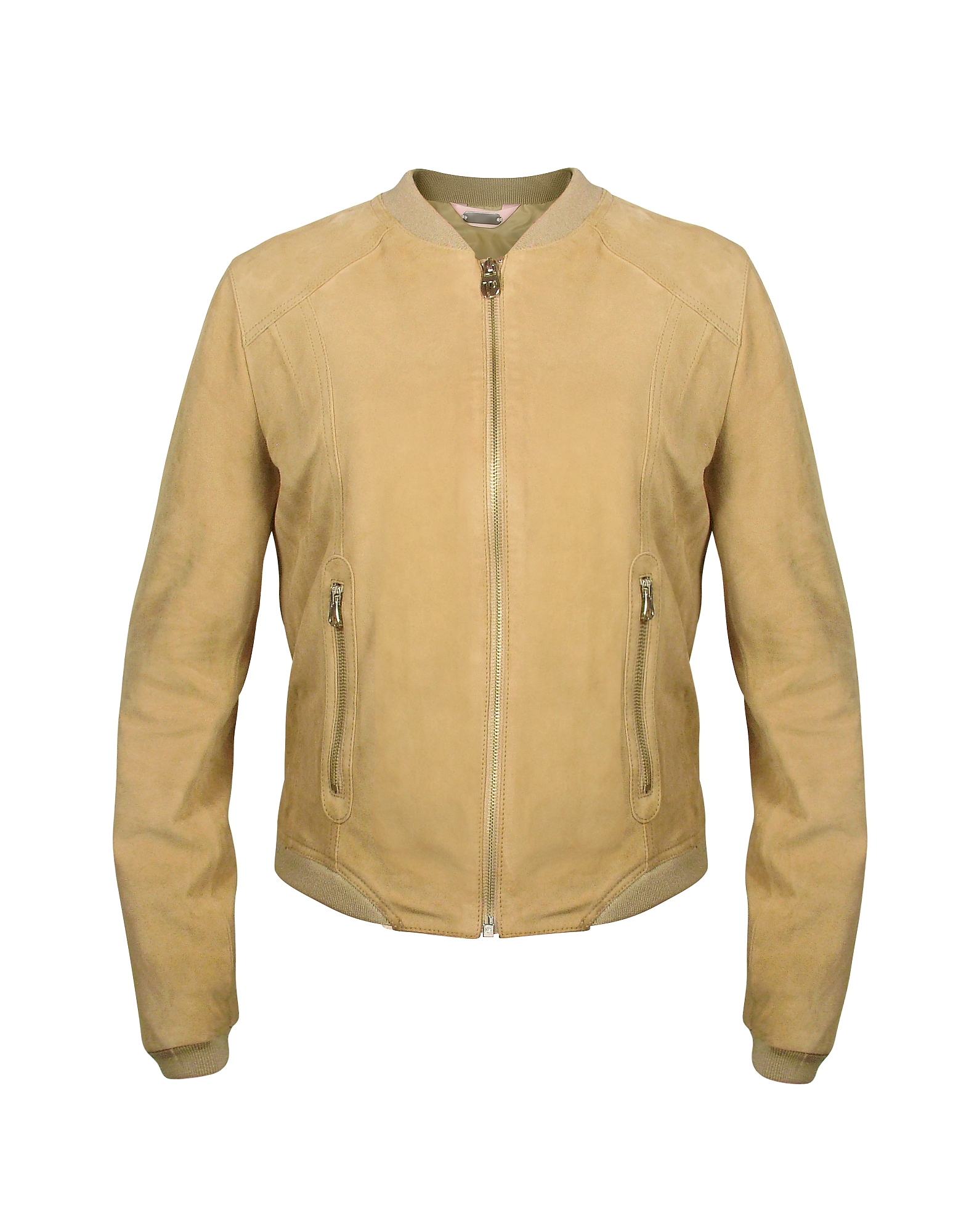 Светло-коричневая Женская Замшевая Куртка на Молнии