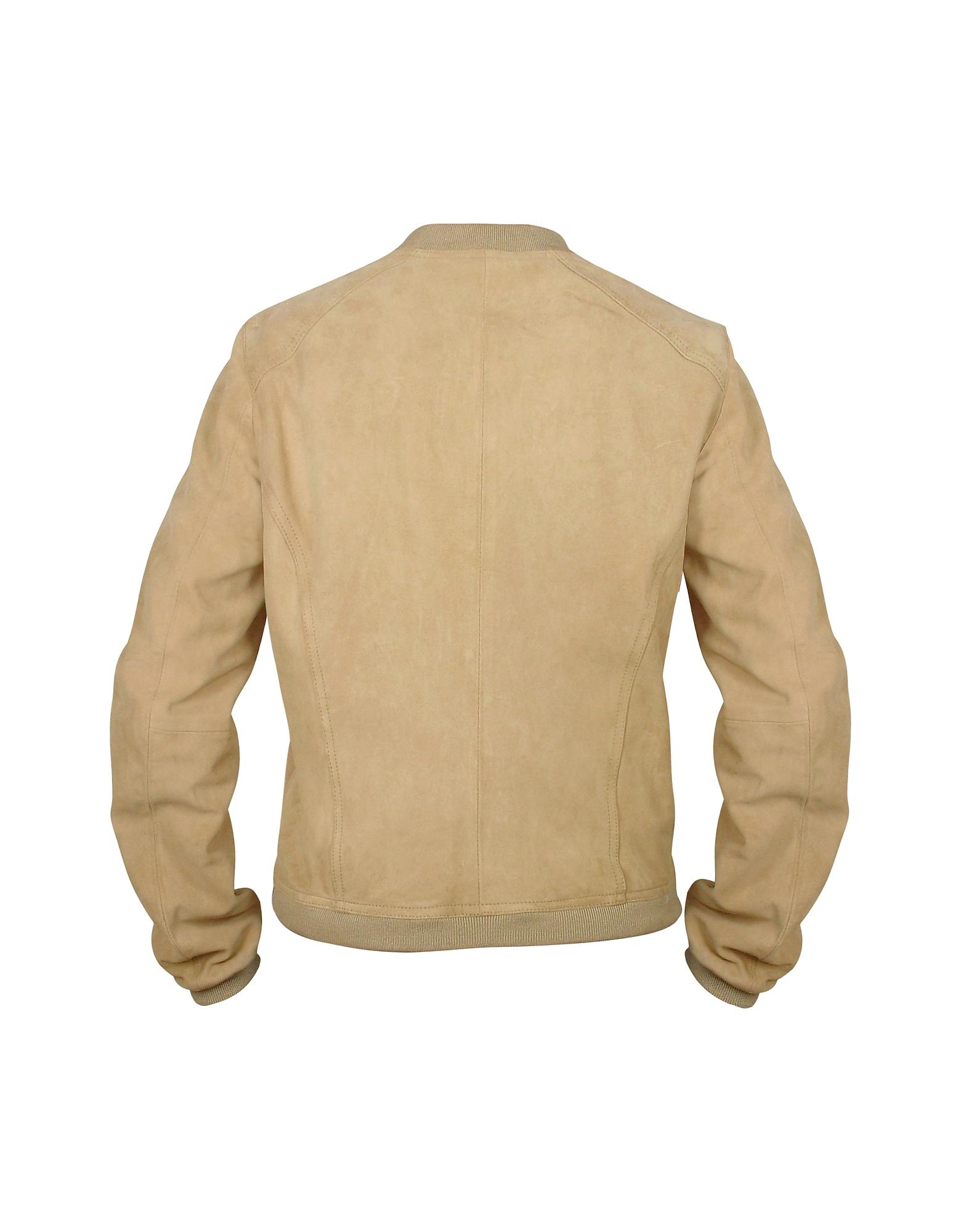 Women's Light Brown Suede Zip Jacket от Forzieri.com INT