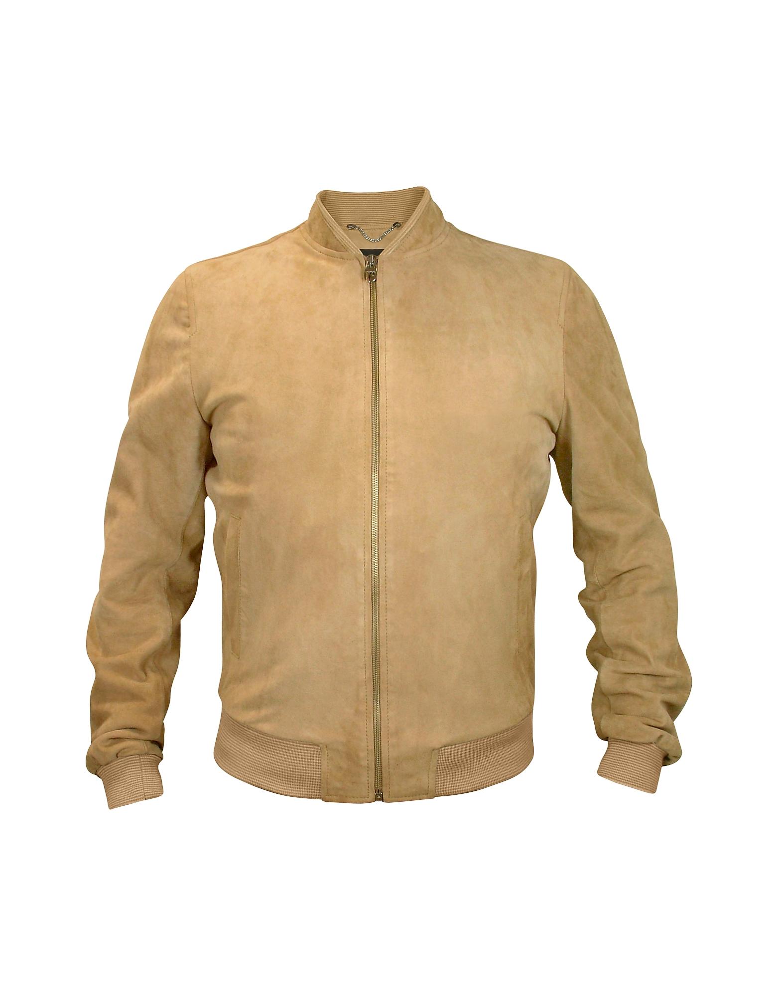 Светло-коричневая Мужская Замшевая Куртка на Молнии
