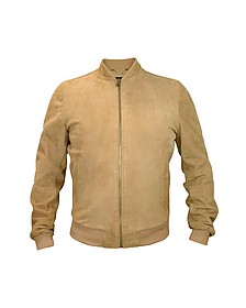 Men's Light Brown Suede Zip Jacket - Forzieri