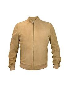 Светло-коричневая Мужская Замшевая Куртка на Молнии - Forzieri