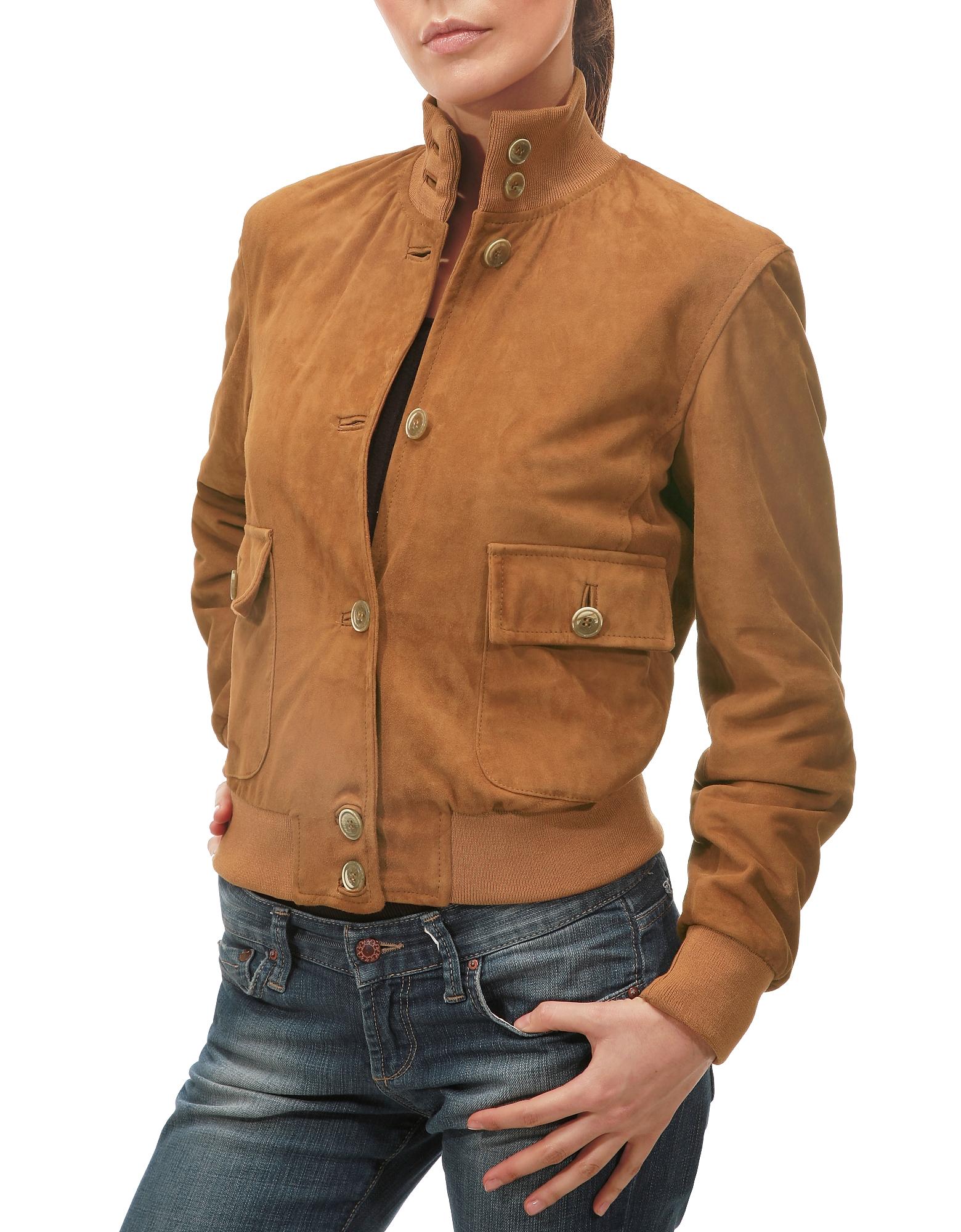 Итальянская Женская Замшевая Куртка Цвета Загара с Двумя Карманами