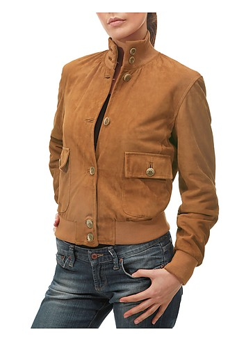 Forzieri Women's Tan Italian Suede Two-pocket Jacket :  tan lined italy leather and rope belt