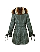 Women's Black Fox Fur-trim Puffer Coat - Forzieri