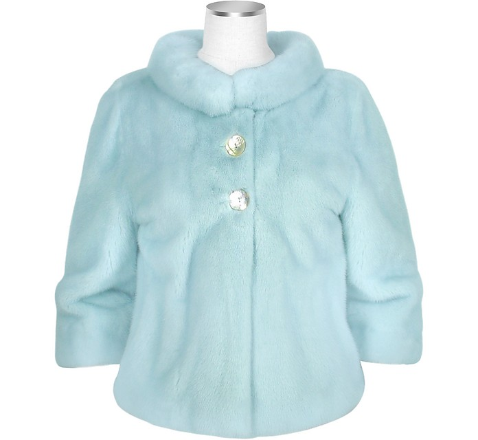 Ultimate Luxury Collection Light Blue Mink Fur two-button Jacket - Forzieri