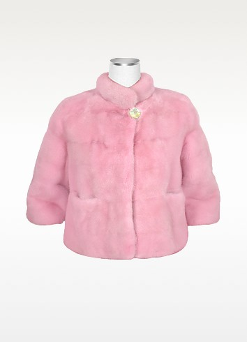 Ultimate Luxury Collection Pink Cropped Mink Fur Two-pocket Jacket - Forzieri