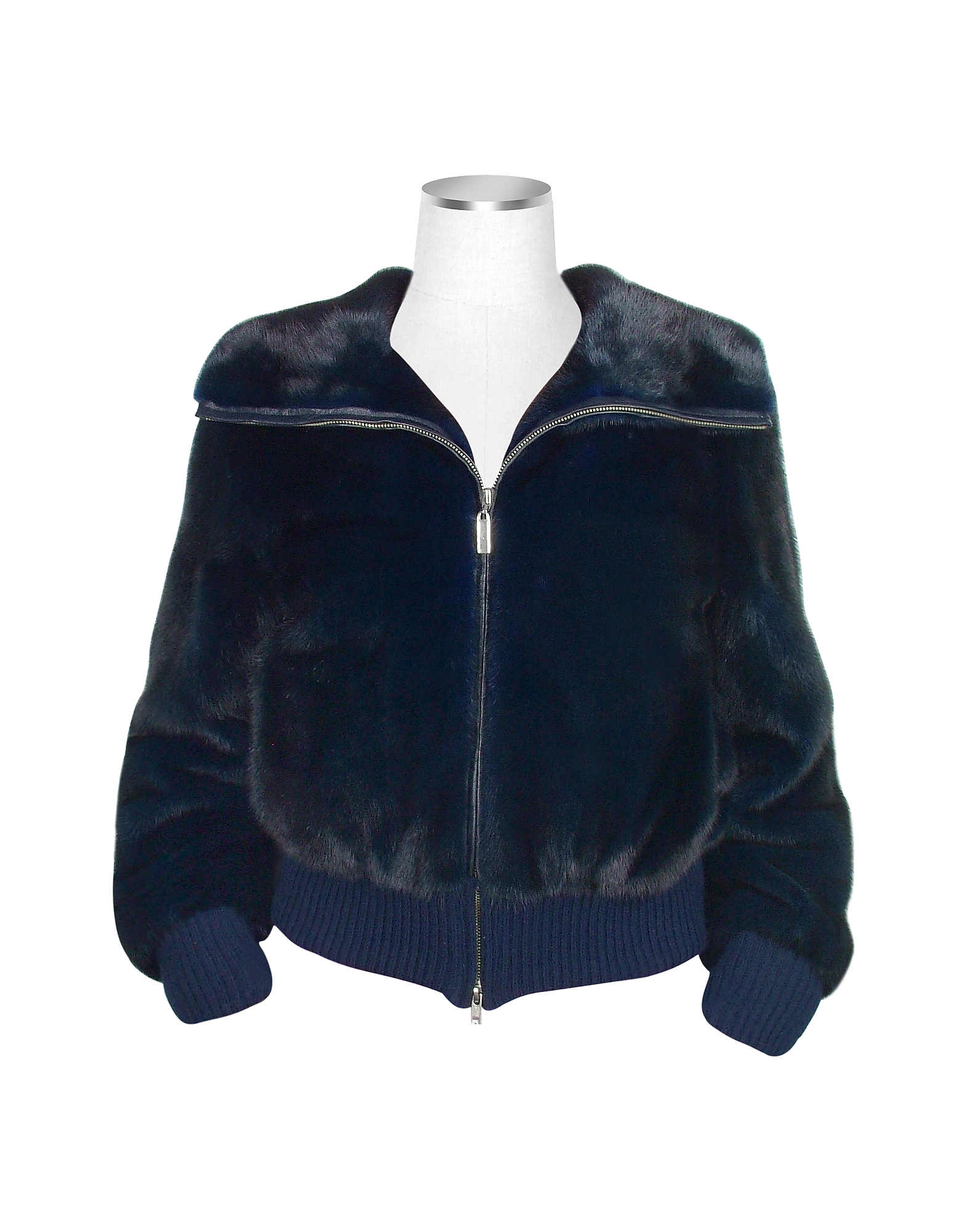 Ultimate Luxury Collection Blue Mink Fur Bomber Jacket