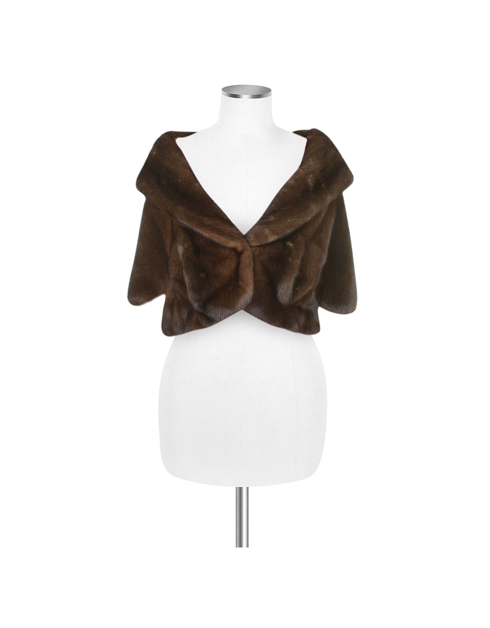 Ultimate Luxury Collection Brown Mink Fur Front-pockets Cape