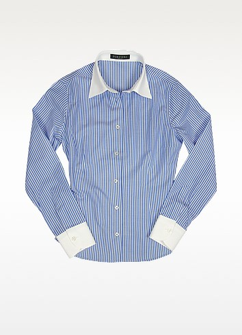 White & Blue Pencil Stripe Cotton Blouse - Forzieri