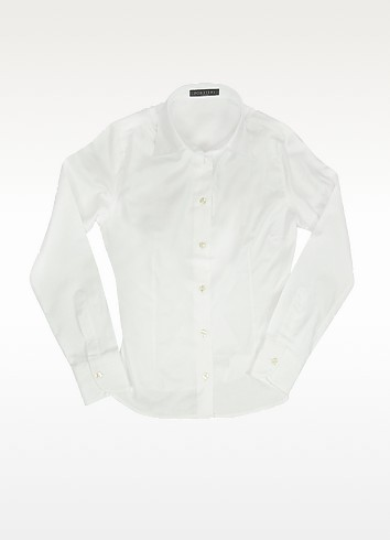 Solid White Oxford Cotton Classic Fitted Blouse - Forzieri