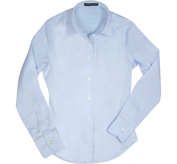 Solid Light Blue Oxford Cotton Classic Fitted Blouse - Forzieri