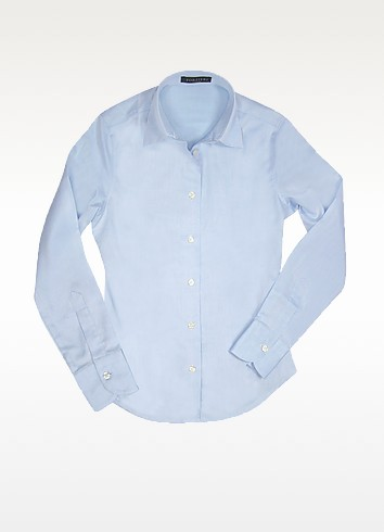 Solid Light Blue Oxford Cotton Classic Fitted Blouse - Forzieri 福喜利