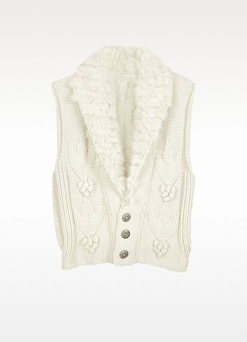 White Wool and Rabbit Fur Vest - Forzieri
