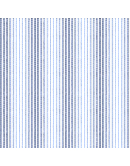 Forzieri White Blue Striped 2 Ply Poplin Cotton