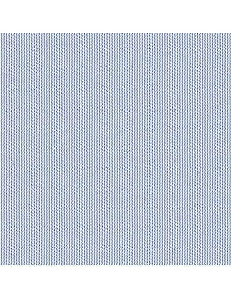 Forzieri White Blue Striped 2 Ply Twill Cotton