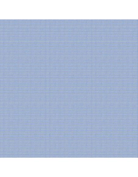 Forzieri White Blue Micro 2 Ply Houndstooth Cotton