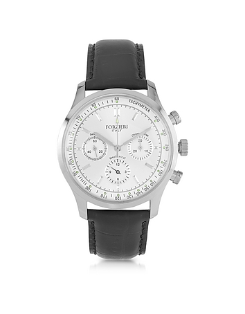 Forzieri - Dublino Stainless Steel Men's Watch w/Croco Leather Strap