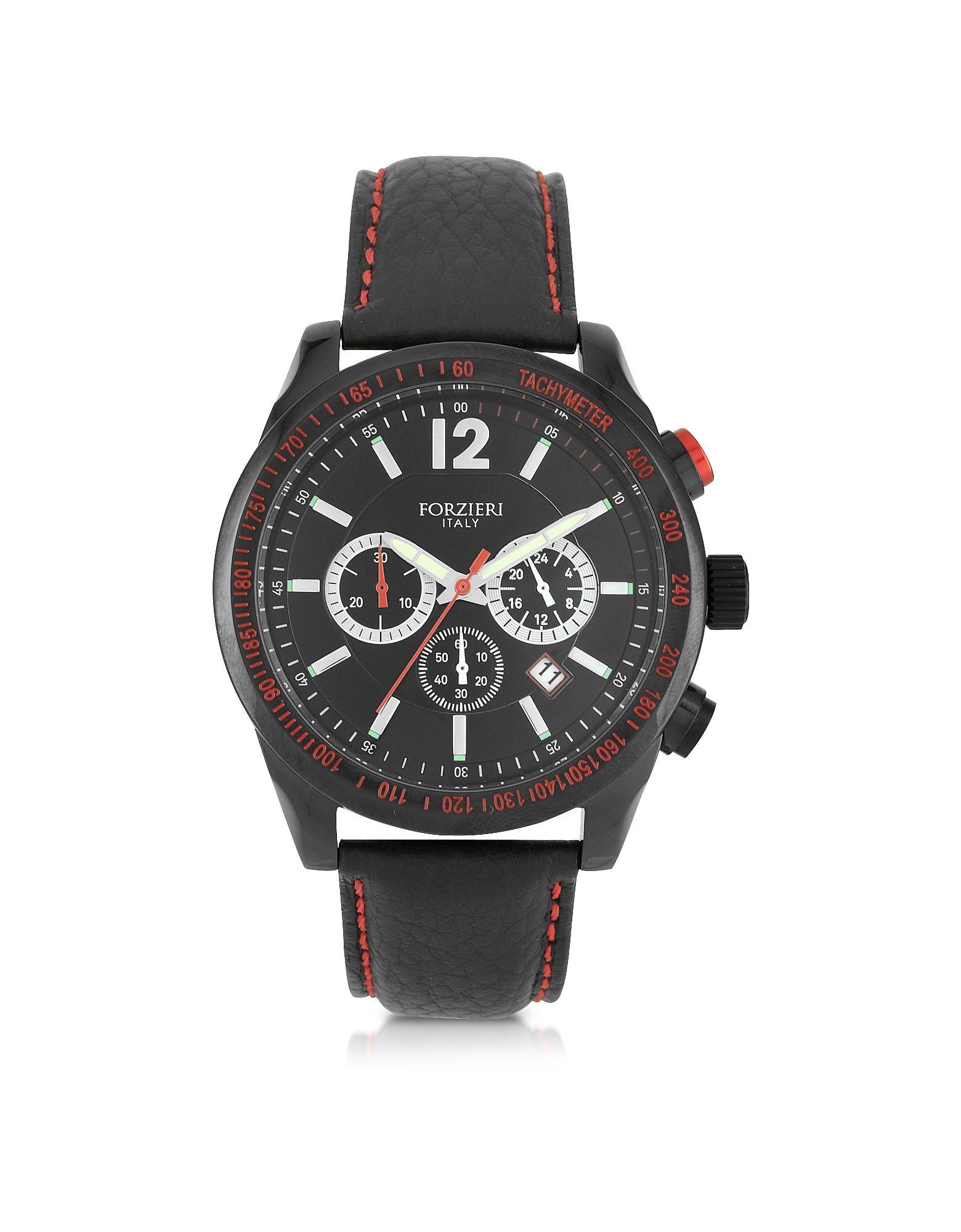 Assen - Черные Мужские Часы Хронограф с Красной Отделкой