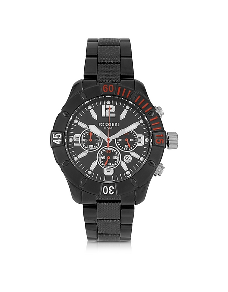 Forzieri Kimi Black and Red Stainless Steel Mens Watch