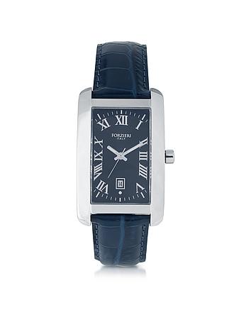 Forzieri - Gabriel Rectangular Case Men's Watch w/ Croco Embossed Strap