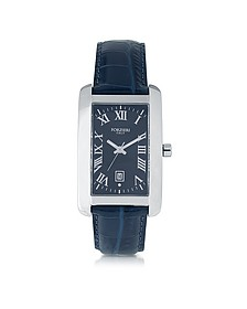 Gabriel Rectangular Case Men's Watch w/ Croco Embossed Strap - Forzieri