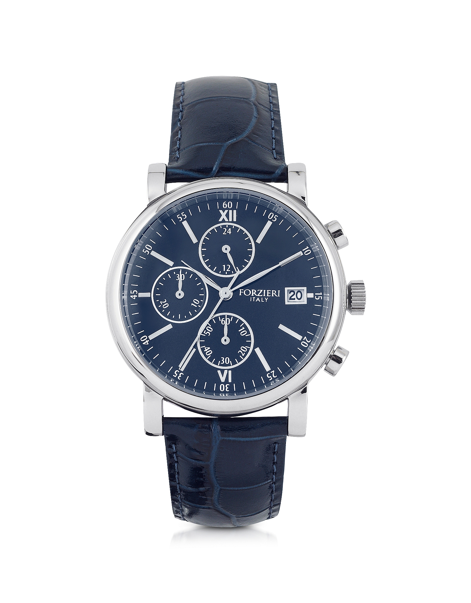 Berlino Silver Tone Stainless Steel Case and Genuine Embossed Leather Men's Chrono Watch
