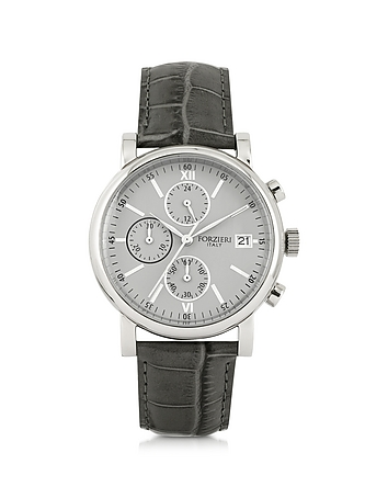 Forzieri - Berlino Silver Tone Stainless Steel Case and Genuine Embossed Leather Men's Chrono Watch